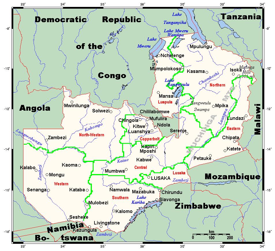 Mapa największych miast Zambii