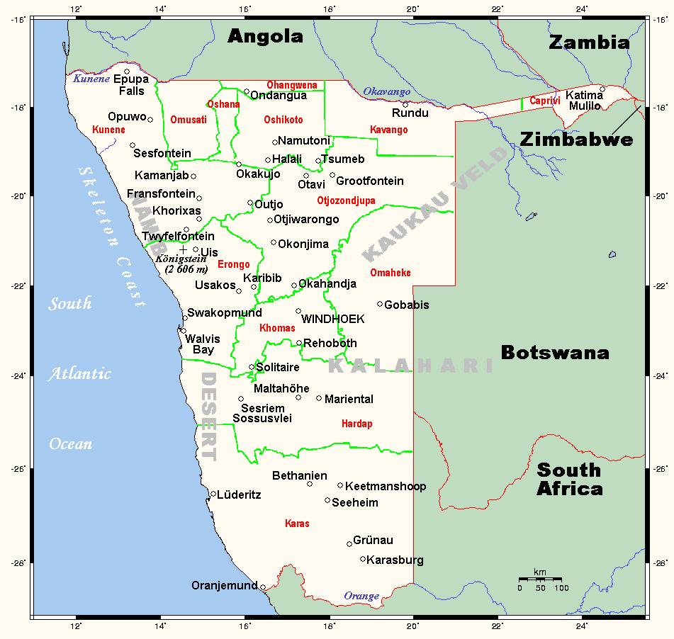 Mapa Namibii