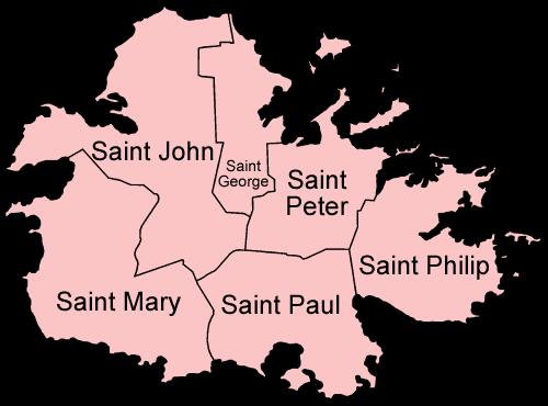Mapa podziału administracyjnego Antigui