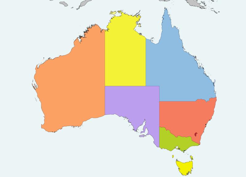 Mapa podziału administracyjnego Australii