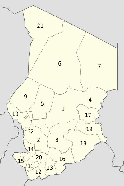 Mapa podziału administracyjnego Czadu
