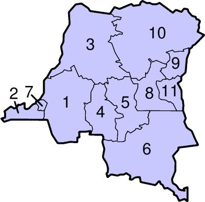 Mapa podziału administracyjnego Demokratycznej Republiki Konga