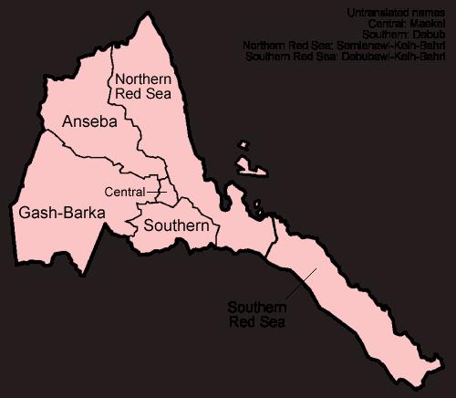 Mapa podziału administracyjnego Erytrei
