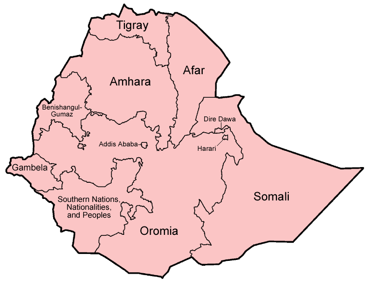 Mapa podziału administracyjnego Etiopii