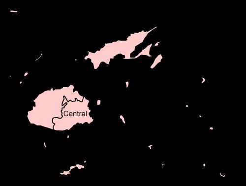 Mapa podziału Fidżi na dystrykty