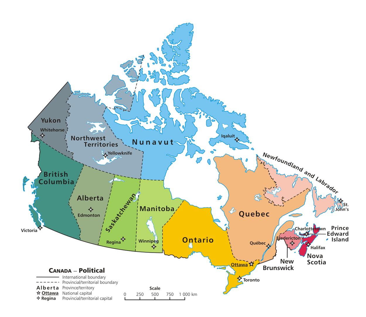 Mapa podziału administracyjnego Kanady