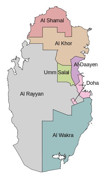 Mapa podziału administracyjnego Kataru