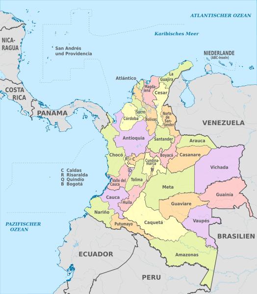 Mapa podziału administracyjnego Kolumbii