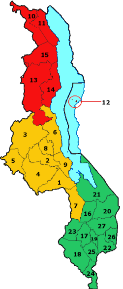 Mapa podziału administracyjnego Malawi