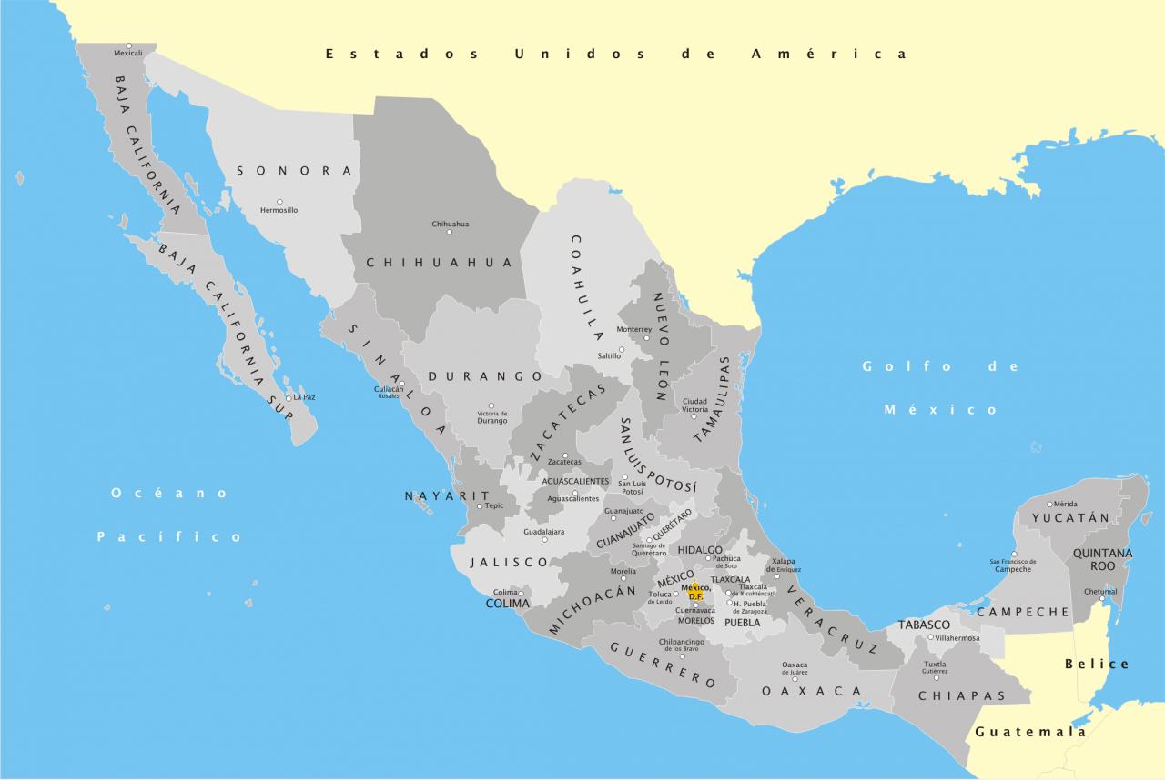 Mapa podziału administracyjnego Meksyku