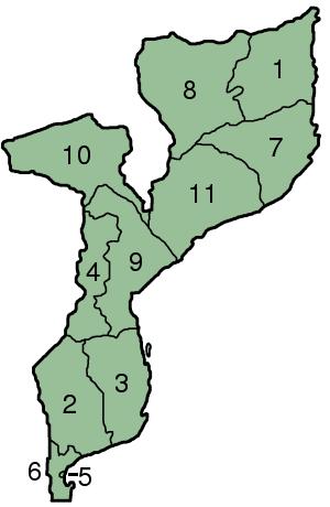 Mapa podziału administracyjnego Mozambiku