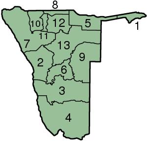 Mapa podziału administracyjnego Namibii