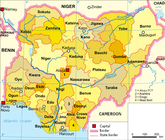 Mapa podziału administracyjnego Nigerii