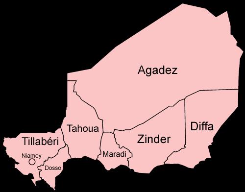 Mapa podziału administracyjnego Nigru