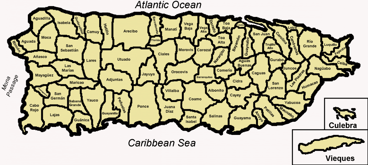 Mapa podziału administracyjnego Portoryko
