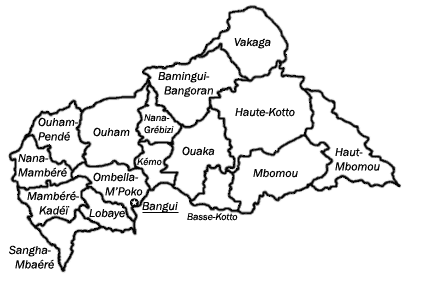 Mapa podziału administracyjnego Republiki Środkowoafrykańskiej
