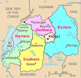 Mapa podziału administracyjnego Rwandy