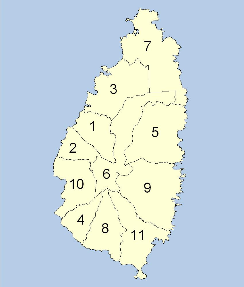 Mapa podziału administracyjnego Saint Lucia