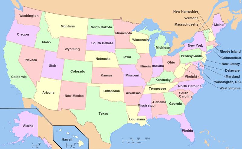 Mapa podziału administracyjnego Stanów Zjednoczonych