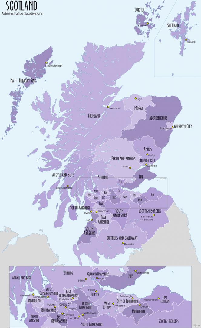 Mapa podziału administracyjnego Szkocji