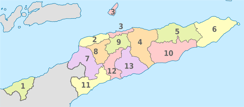 Mapa podziału administracyjnego Timoru Wschodniego