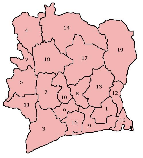 Mapa podziału administracyjnego Wybrzeża Kości Słoniowej