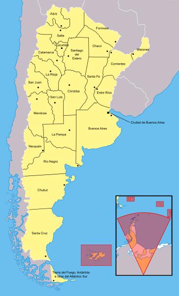 Mapa podziału Argentyny na prowincje