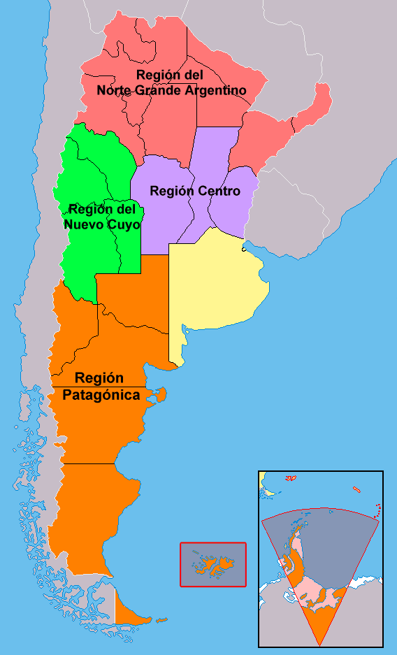 Mapa podziału Argentyny na regiony
