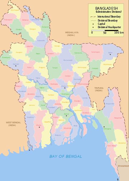 Mapa podziału Bangladeszu na dystrykty