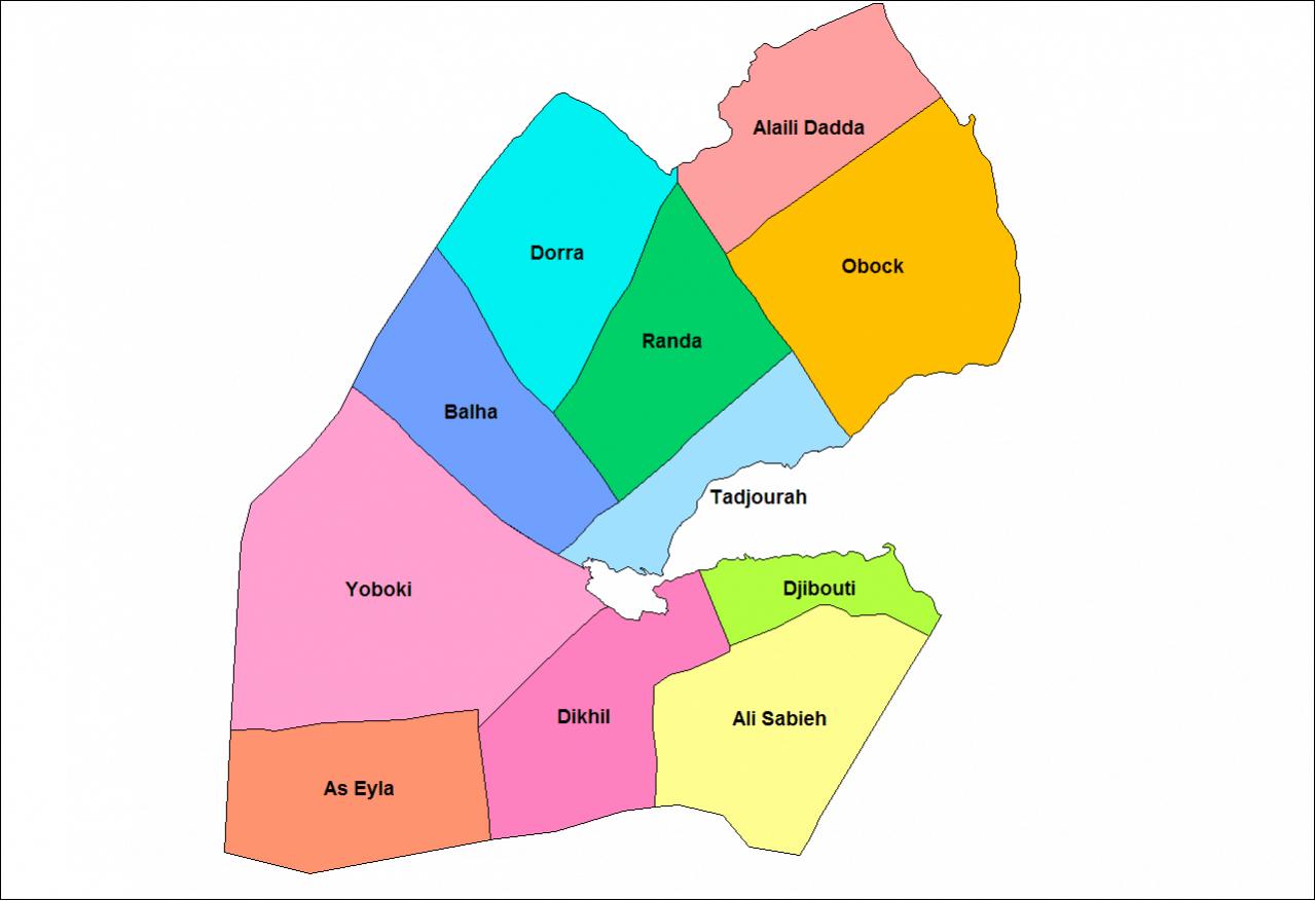 Mapa podziału Dżibuti na dystrykty
