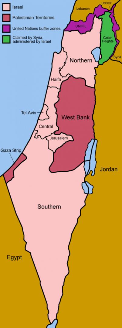 Mapa podziału Izraela na dystrykty