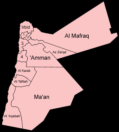 Mapa podziału Jordanii na Muhafazy