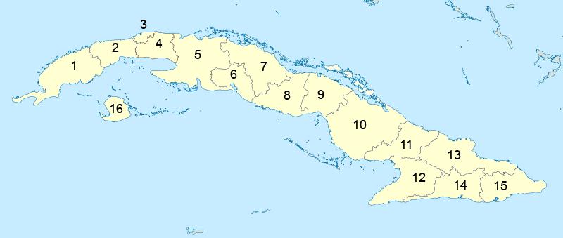 Mapa podziału Kuby na prowincje