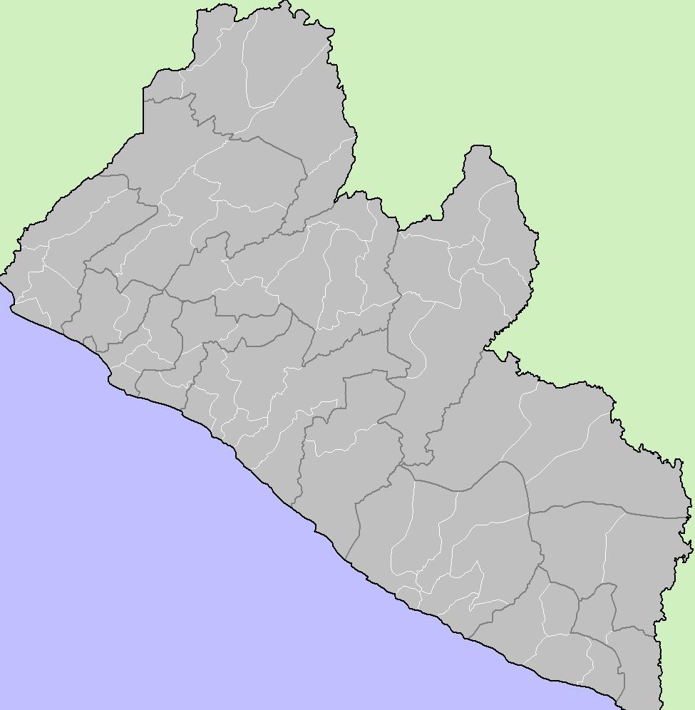 Mapa podziału Liberii na dystrykty