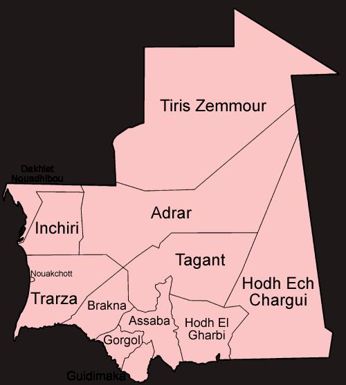 Mapa podziału Mauretanii na regiony