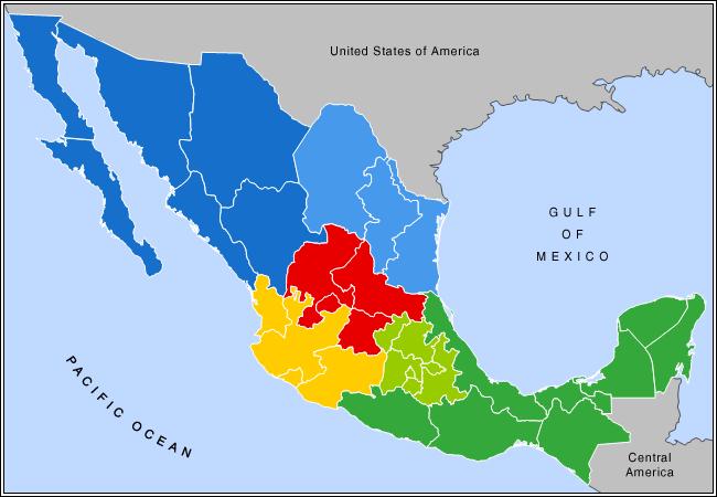 Mapa podziału Meksyku na regiony