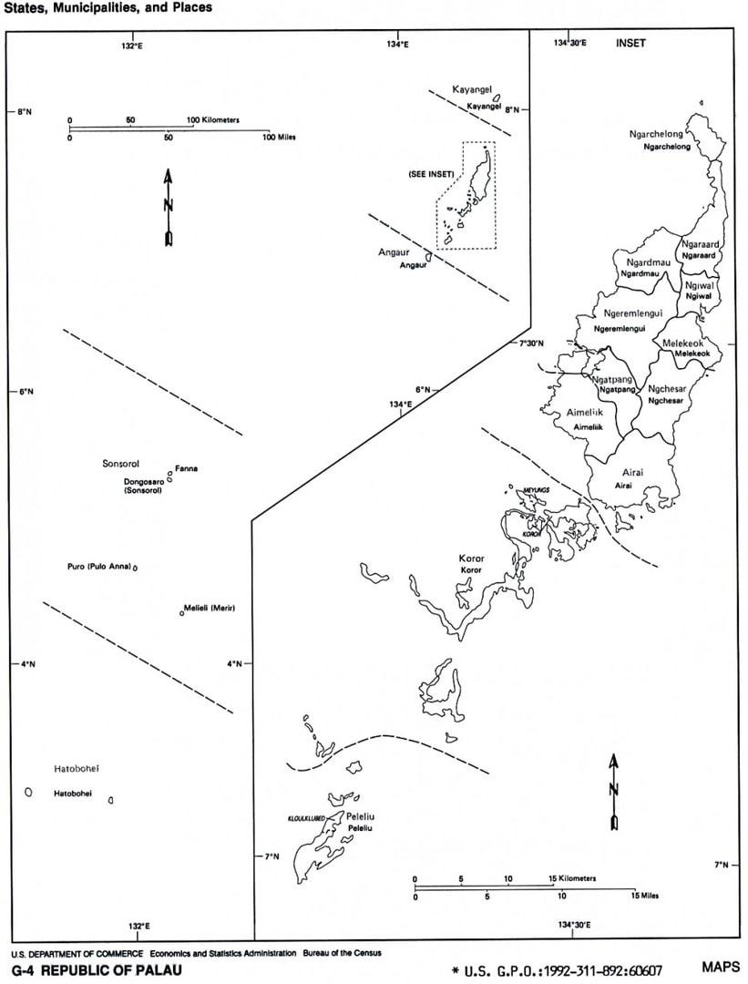 Mapa podziału Palau na stany
