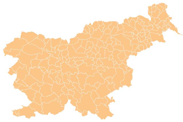 Mapa podziału Słowenii na gminy