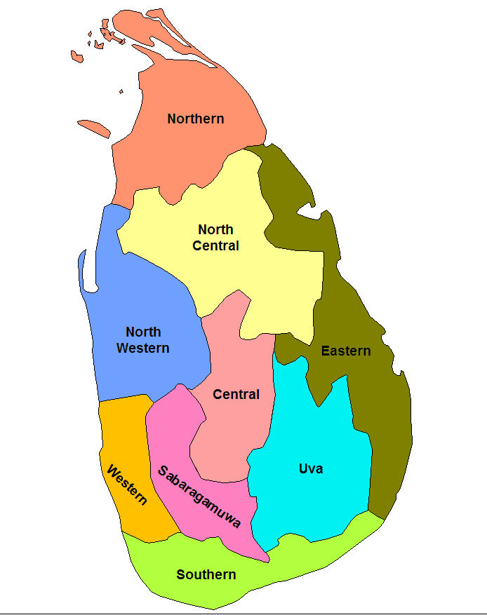 Mapa podziału Sri Lanki na prowincje
