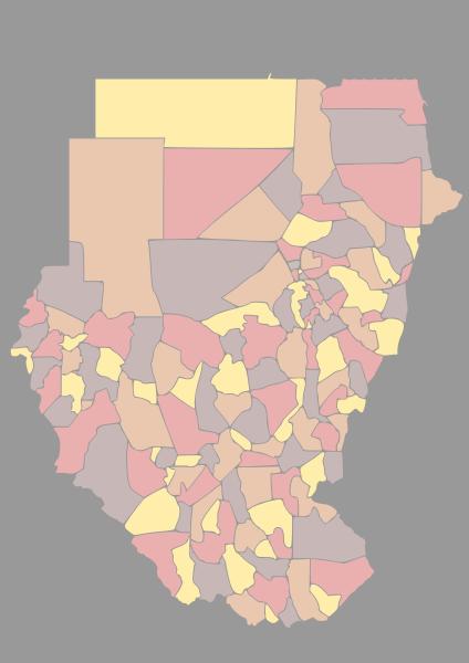 Mapa podziału Sudanu na dystrykty