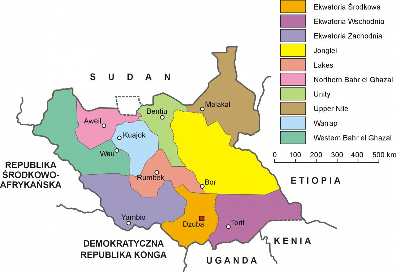 Mapa podziału Sudanu Południowego na stany