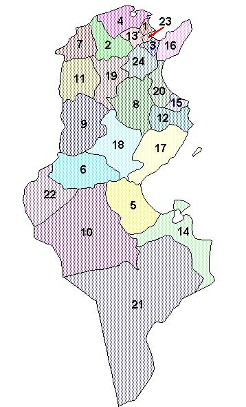 Mapa podziału Tunezji na gubernatorstwa