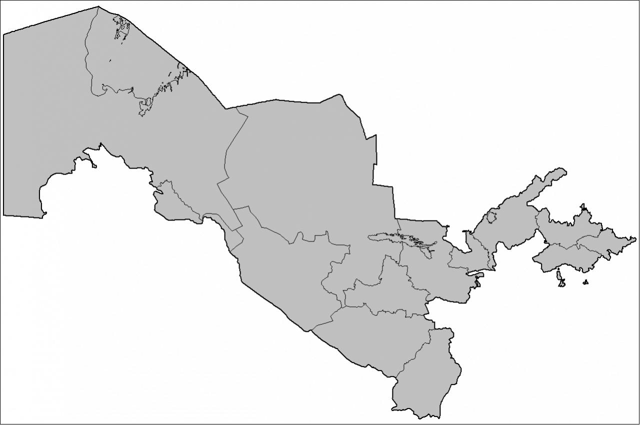 Mapa podziału Uzbekistanu na prowincje