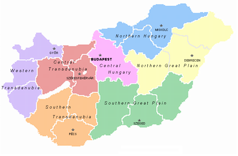 Mapa podziału Węgier na regiony