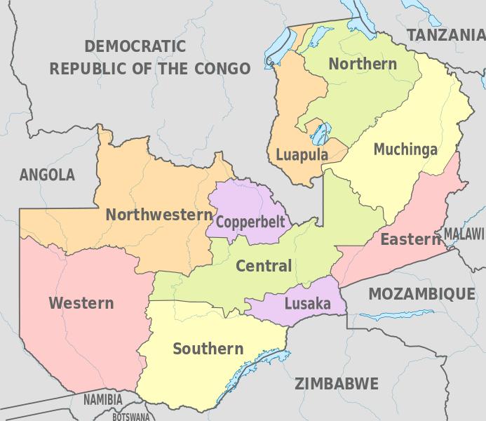 Mapa podziału Zambii na prowincje