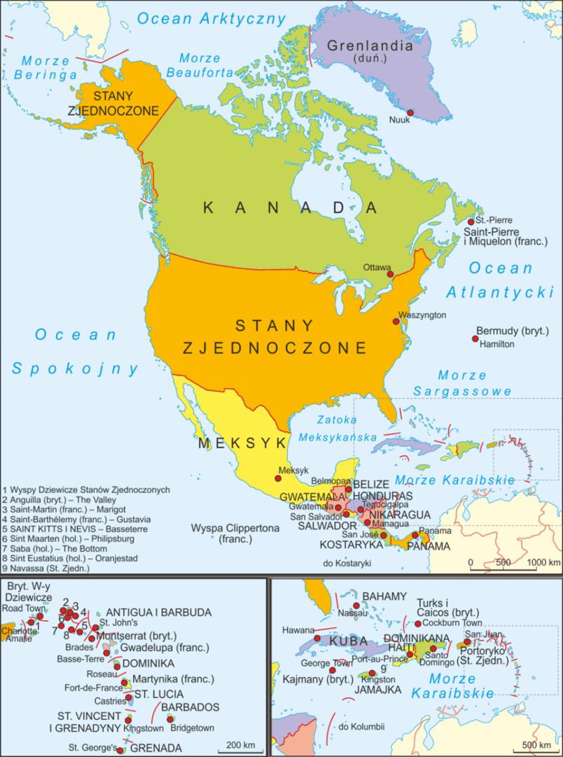 Mapa polityczna Ameryki Północnej - Państwa Ameryki Północnej