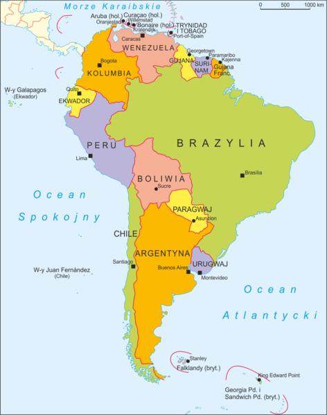 Mapa polityczna Ameryki Południowej