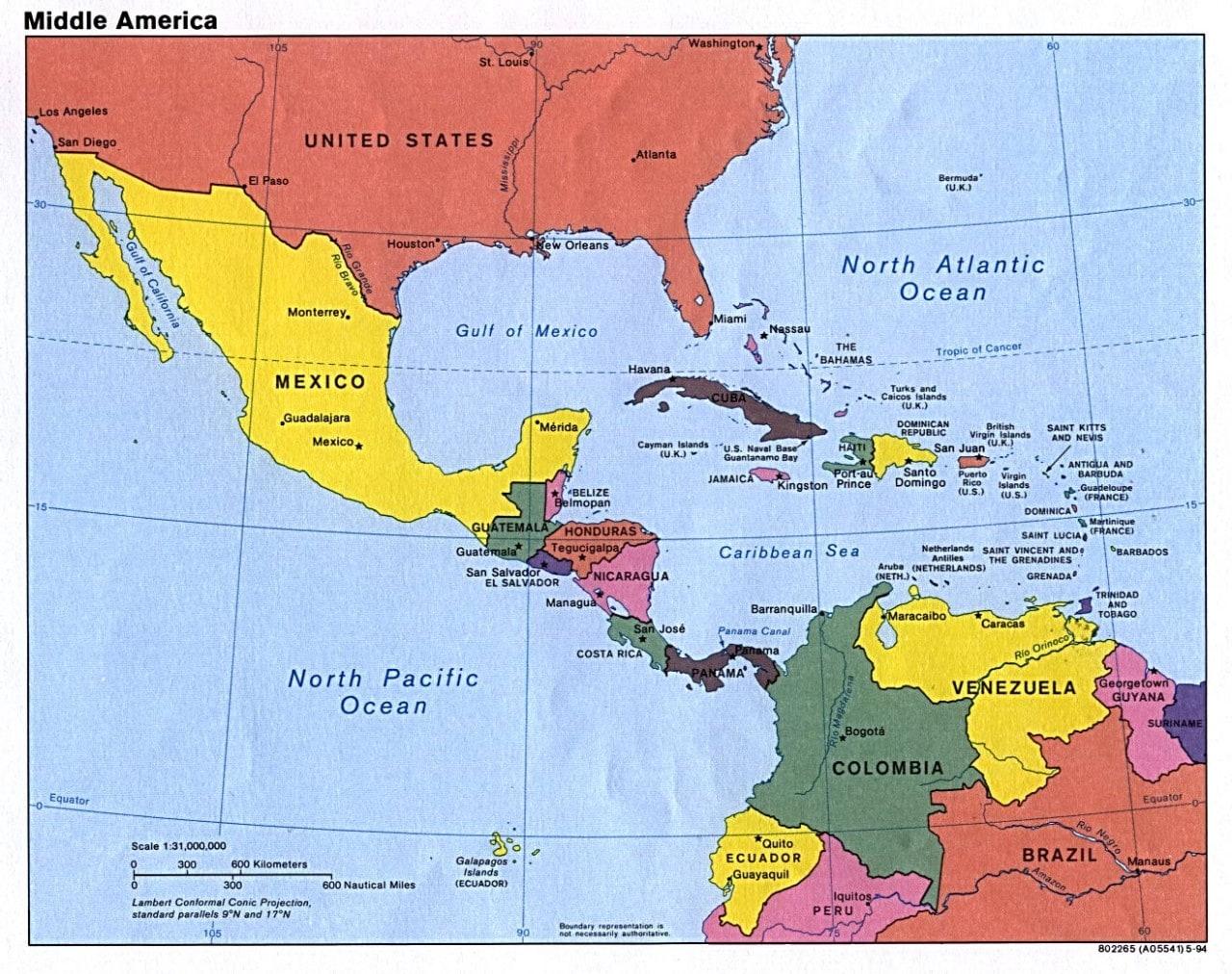 Mapa Ameryka Srodkowa Travelin Travelin