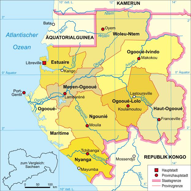 Mapa polityczna Gabonu