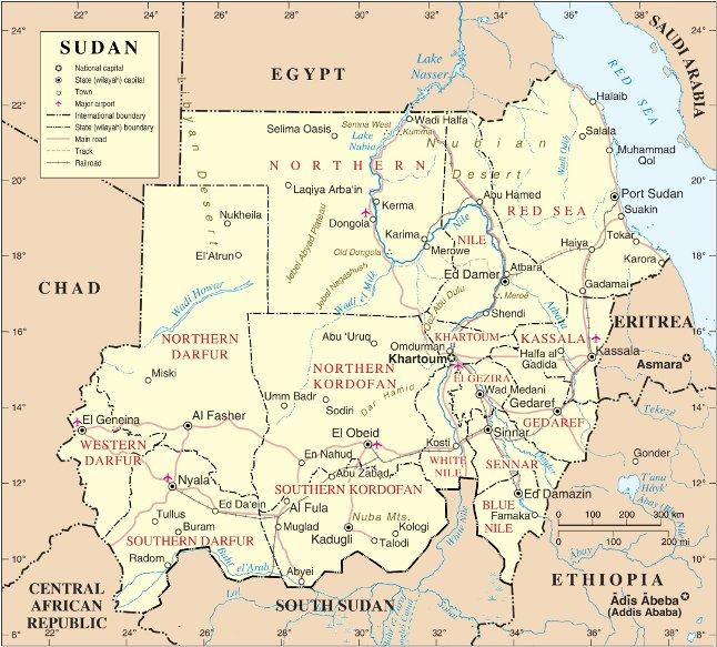 Mapa polityczna Sudanu